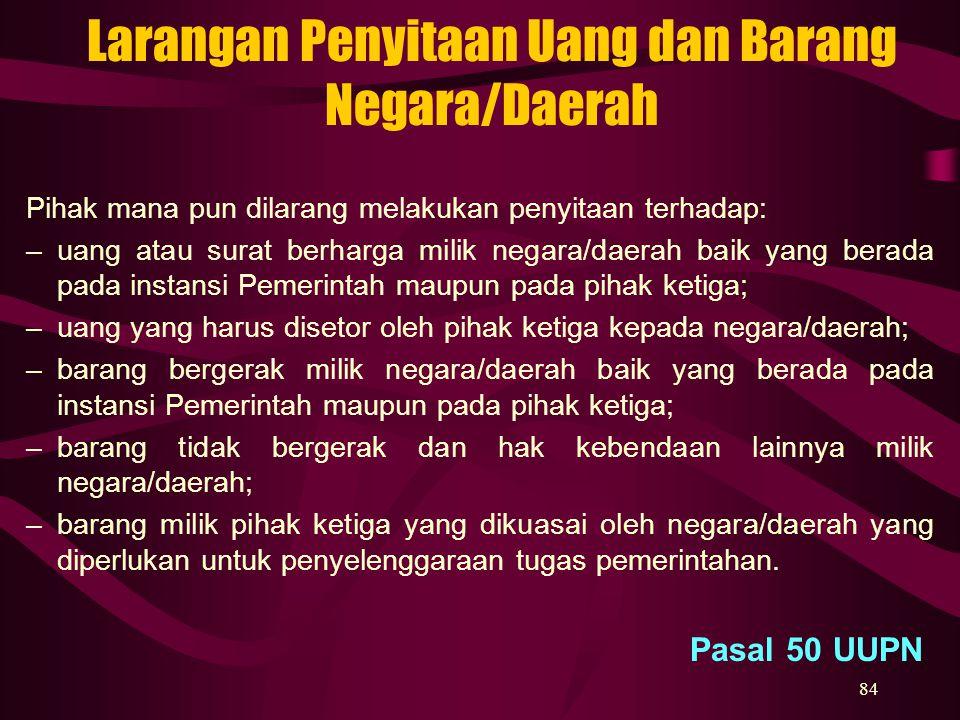 84 Larangan Penyitaan Uang dan Barang Negara/Daerah Pihak mana pun dilarang melakukan penyitaan terhadap: –uang atau surat berharga milik negara/daera