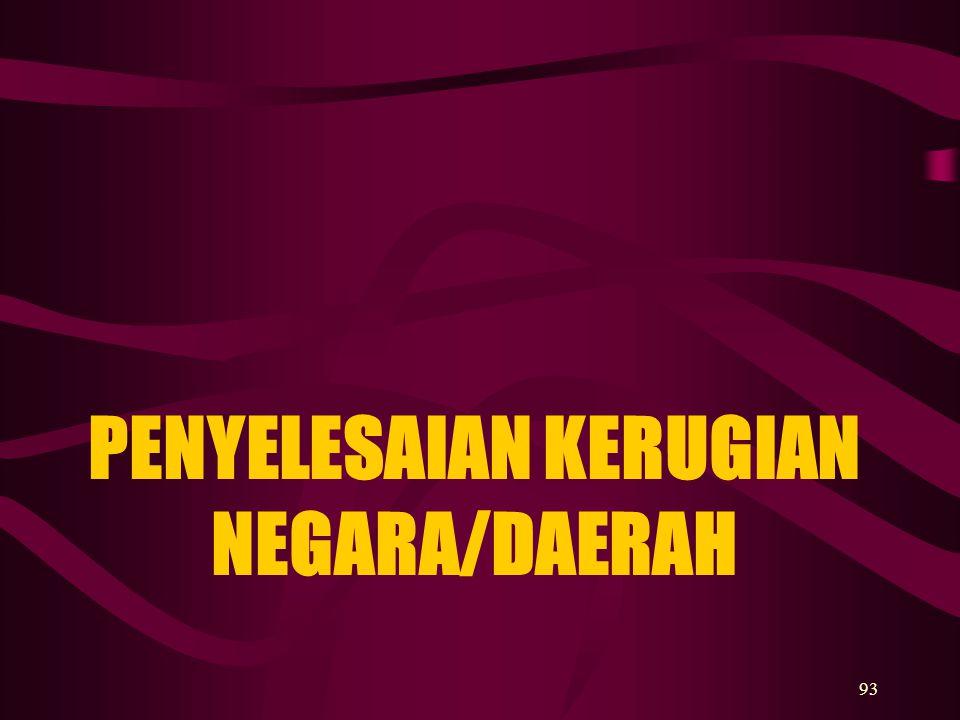 93 PENYELESAIAN KERUGIAN NEGARA/DAERAH