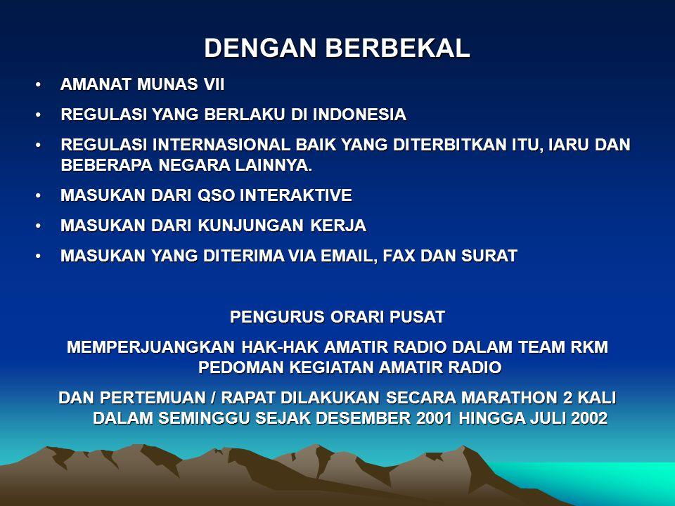 DENGAN BERBEKAL AMANAT MUNAS VIIAMANAT MUNAS VII REGULASI YANG BERLAKU DI INDONESIAREGULASI YANG BERLAKU DI INDONESIA REGULASI INTERNASIONAL BAIK YANG