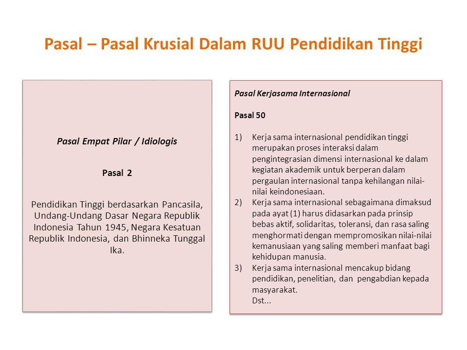 Pasal – Pasal Krusial Dalam RUU Pendidikan Tinggi Pasal Empat Pilar / Idiologis Pasal 2 Pendidikan Tinggi berdasarkan Pancasila, Undang-Undang Dasar N