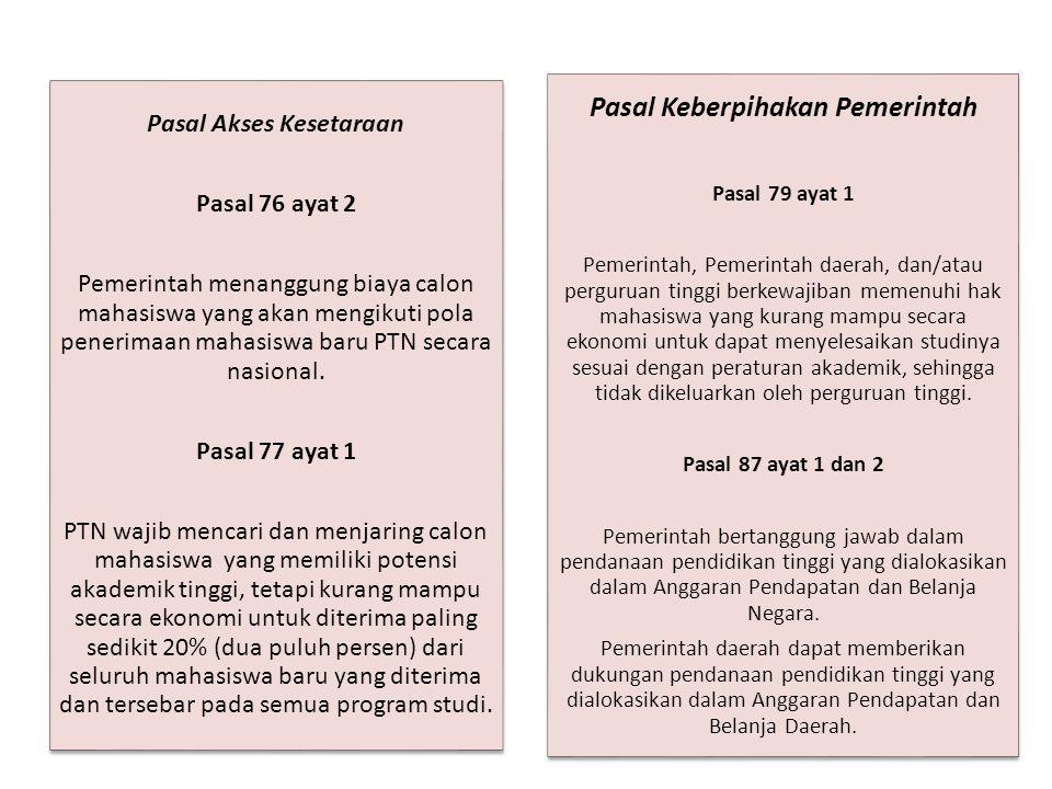 Pasal Akses Kesetaraan Pasal 76 ayat 2 Pemerintah menanggung biaya calon mahasiswa yang akan mengikuti pola penerimaan mahasiswa baru PTN secara nasional.