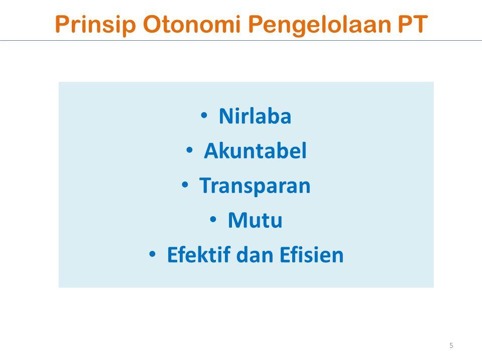 Prinsip Otonomi Pengelolaan PT Nirlaba Akuntabel Transparan Mutu Efektif dan Efisien 5