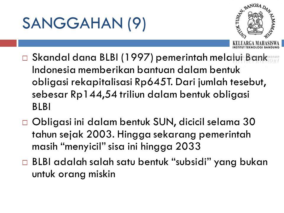 SANGGAHAN (9)  Skandal dana BLBI (1997) pemerintah melalui Bank Indonesia memberikan bantuan dalam bentuk obligasi rekapitalisasi Rp645T. Dari jumlah