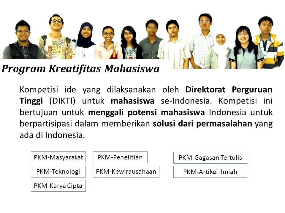Program Kreatifitas Mahasiswa Kompetisi ide yang dilaksanakan oleh Direktorat Perguruan Tinggi (DIKTI) untuk mahasiswa se-Indonesia.