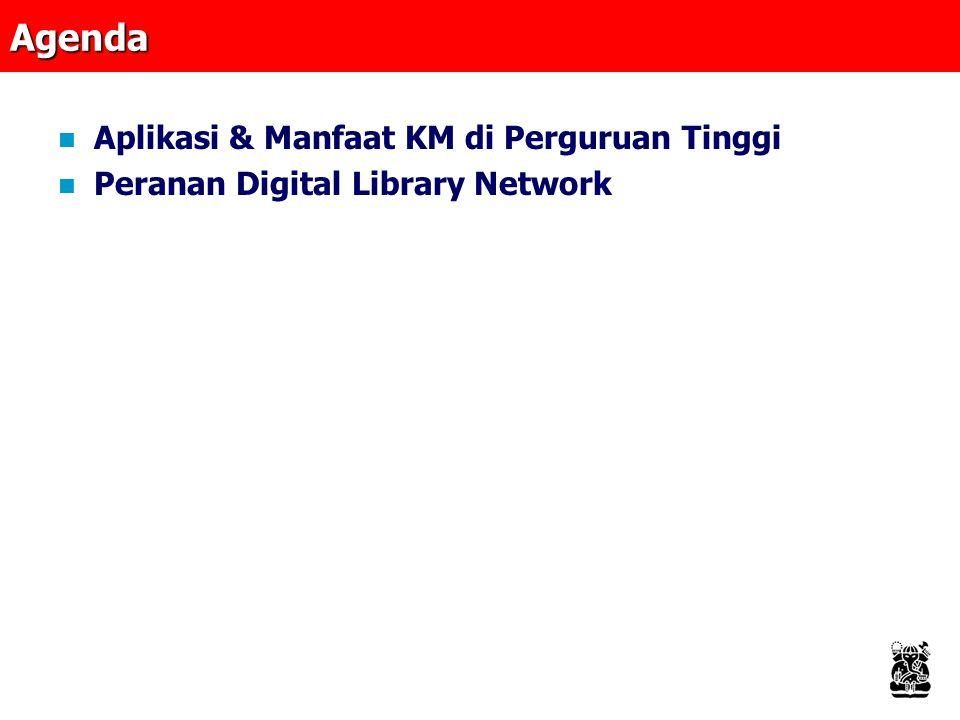 Agenda Aplikasi & Manfaat KM di Perguruan Tinggi Peranan Digital Library Network