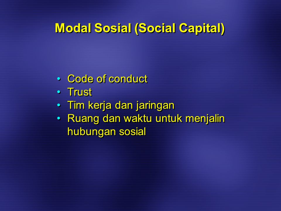 Code of conduct Trust Tim kerja dan jaringan Ruang dan waktu untuk menjalin hubungan sosial Code of conduct Trust Tim kerja dan jaringan Ruang dan waktu untuk menjalin hubungan sosial Modal Sosial (Social Capital)