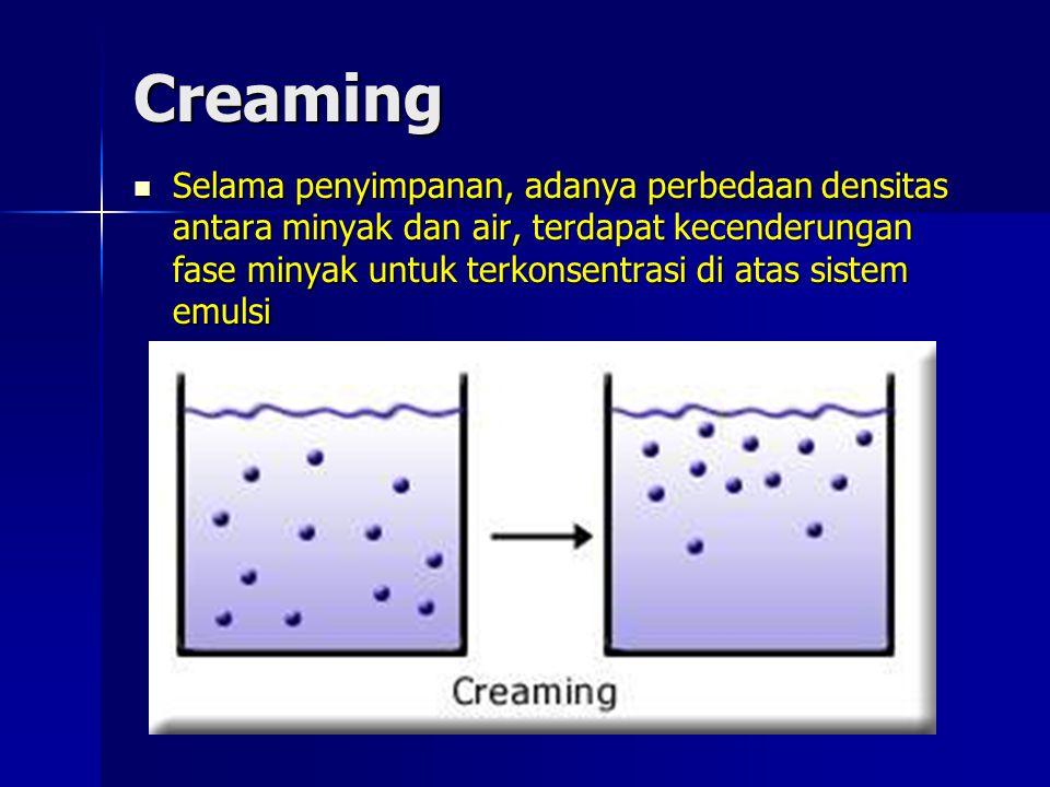 Creaming Selama penyimpanan, adanya perbedaan densitas antara minyak dan air, terdapat kecenderungan fase minyak untuk terkonsentrasi di atas sistem e