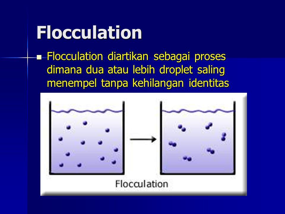 Flocculation Flocculation diartikan sebagai proses dimana dua atau lebih droplet saling menempel tanpa kehilangan identitas Flocculation diartikan seb