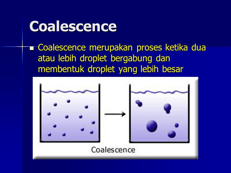 Coalescence Coalescence merupakan proses ketika dua atau lebih droplet bergabung dan membentuk droplet yang lebih besar Coalescence merupakan proses k