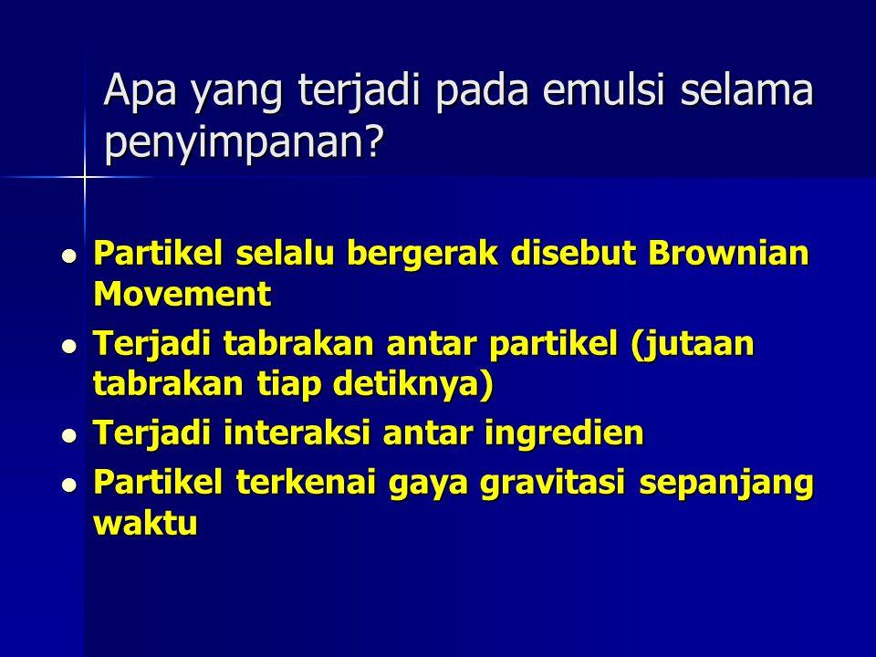 Apa yang terjadi pada emulsi selama penyimpanan? Partikel selalu bergerak disebut Brownian Movement Partikel selalu bergerak disebut Brownian Movement
