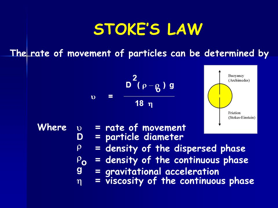 STOKE'S LAW  = D (  ) g 2 o 18  Where  D   g  = rate of movement = particle diameter = density of the dispersed phase = density of the c