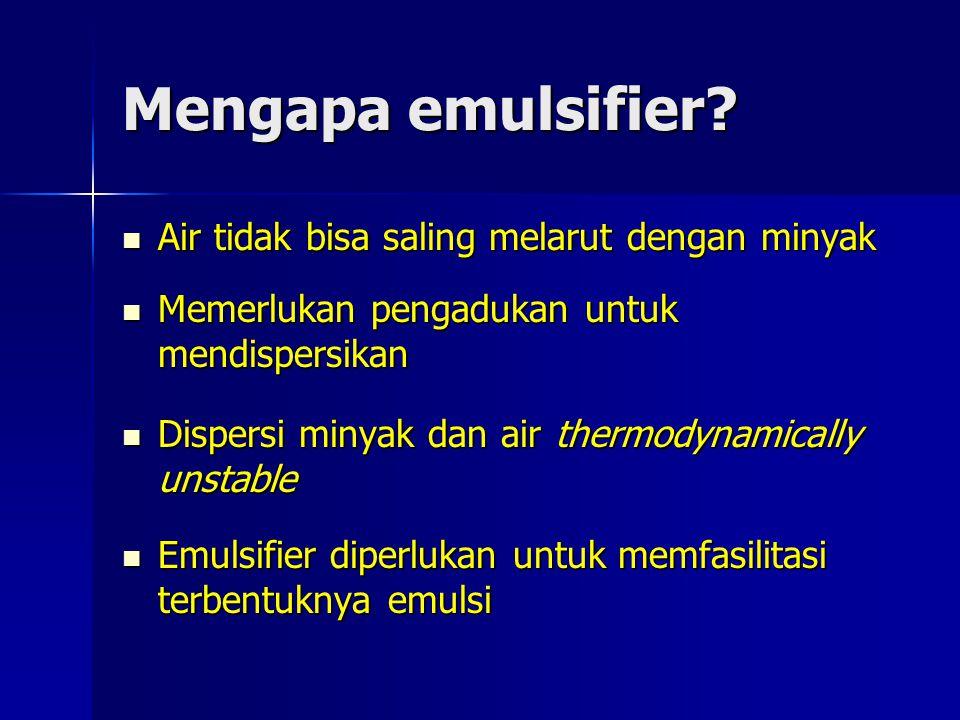 Mengapa emulsifier? Air tidak bisa saling melarut dengan minyak Air tidak bisa saling melarut dengan minyak Memerlukan pengadukan untuk mendispersikan