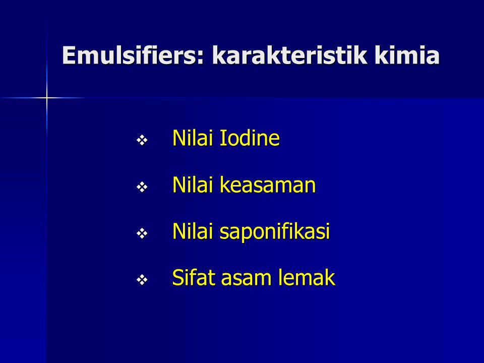 Emulsifiers: karakteristik kimia  Nilai Iodine  Nilai keasaman  Nilai saponifikasi  Sifat asam lemak