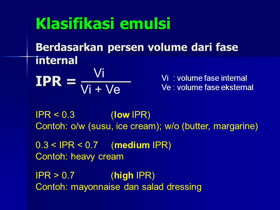 Klasifikasi emulsi Berdasarkan persen volume dari fase internal IPR = ───── Vi Vi + Ve Vi : volume fase internal Ve : volume fase eksternal IPR < 0.3