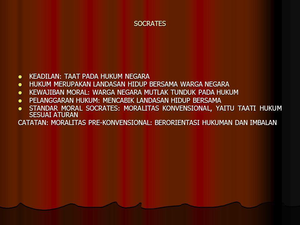 SOCRATES KEADILAN: TAAT PADA HUKUM NEGARA KEADILAN: TAAT PADA HUKUM NEGARA HUKUM MERUPAKAN LANDASAN HIDUP BERSAMA WARGA NEGARA HUKUM MERUPAKAN LANDASA