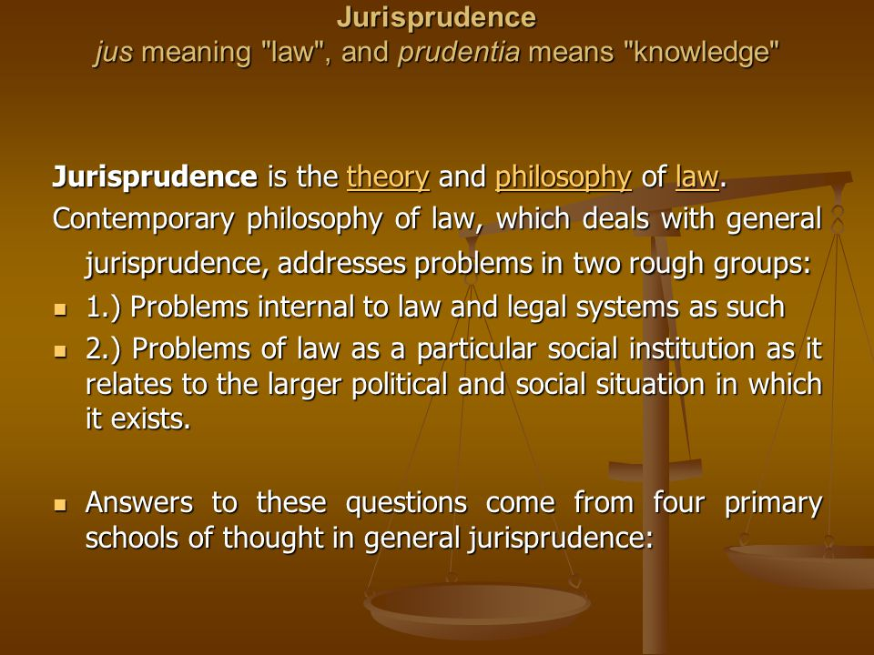 Four Primary Schools of thought in general jurisprudence Natural law is the idea that there are rational objective limits to the power of legislative rulers.