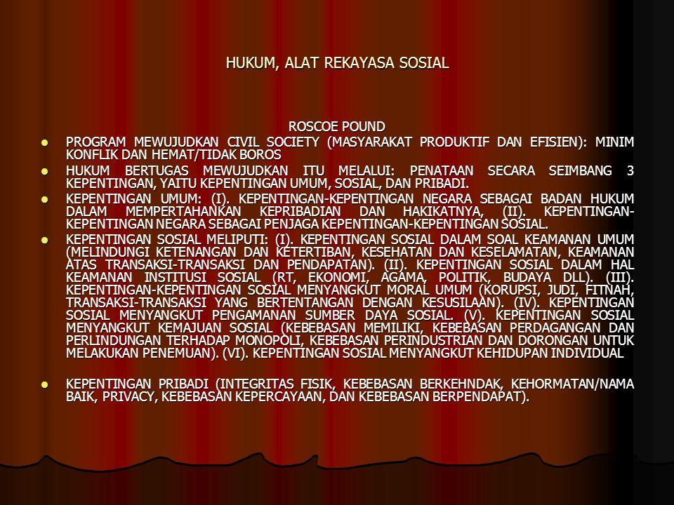 HUKUM, ALAT REKAYASA SOSIAL ROSCOE POUND PROGRAM MEWUJUDKAN CIVIL SOCIETY (MASYARAKAT PRODUKTIF DAN EFISIEN): MINIM KONFLIK DAN HEMAT/TIDAK BOROS PROGRAM MEWUJUDKAN CIVIL SOCIETY (MASYARAKAT PRODUKTIF DAN EFISIEN): MINIM KONFLIK DAN HEMAT/TIDAK BOROS HUKUM BERTUGAS MEWUJUDKAN ITU MELALUI: PENATAAN SECARA SEIMBANG 3 KEPENTINGAN, YAITU KEPENTINGAN UMUM, SOSIAL, DAN PRIBADI.