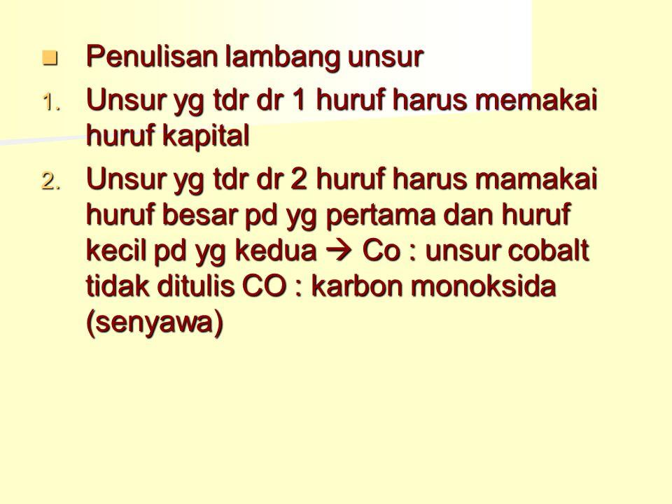 Senyawa yi: zat yg dpt diuraikan secara kimia menjadi dua zat atau lebih dgn sifat berbeda dari asalnya  Air : gas Hidrogen & gas oksigen  Gula: arang & air  Garam dapur: logam Natrium & gas chlor  Batu kapur: kapur tohor & karbondioksida
