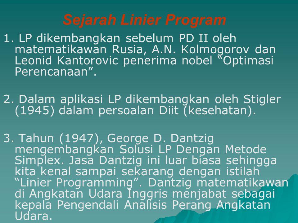 """Sejarah Linier Program 1. LP dikembangkan sebelum PD II oleh matematikawan Rusia, A.N. Kolmogorov dan Leonid Kantorovic penerima nobel """"Optimasi Peren"""