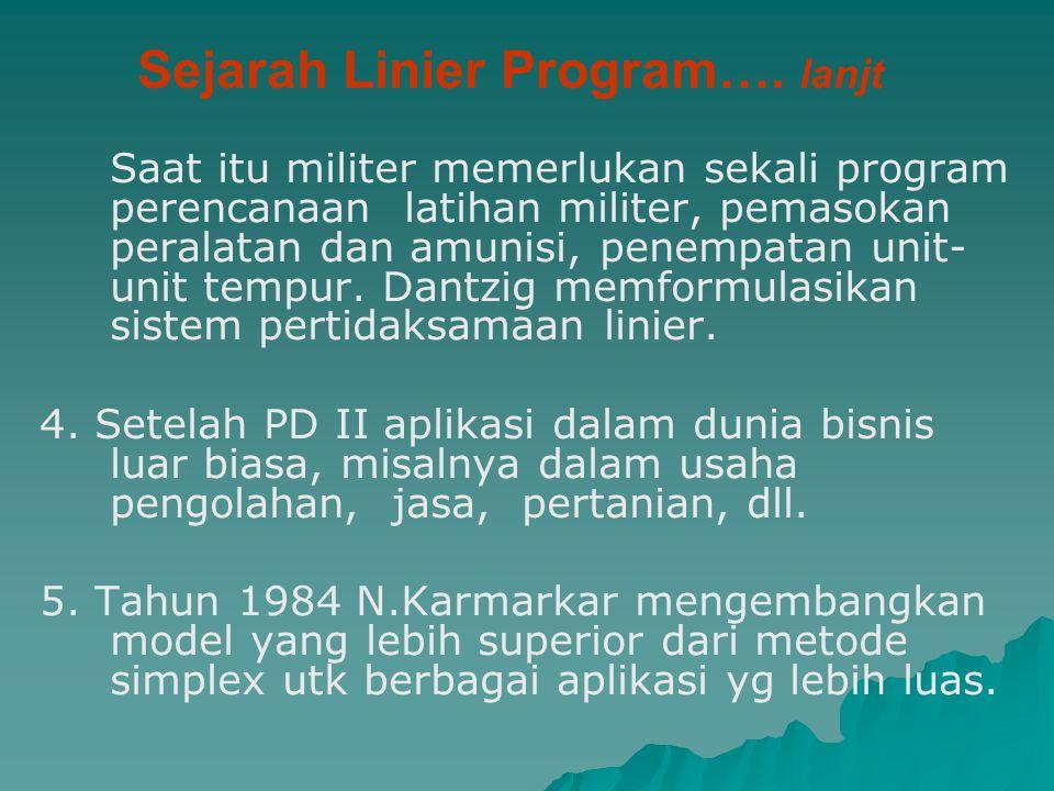 Sejarah Linier Program…. lanjt Saat itu militer memerlukan sekali program perencanaan latihan militer, pemasokan peralatan dan amunisi, penempatan uni