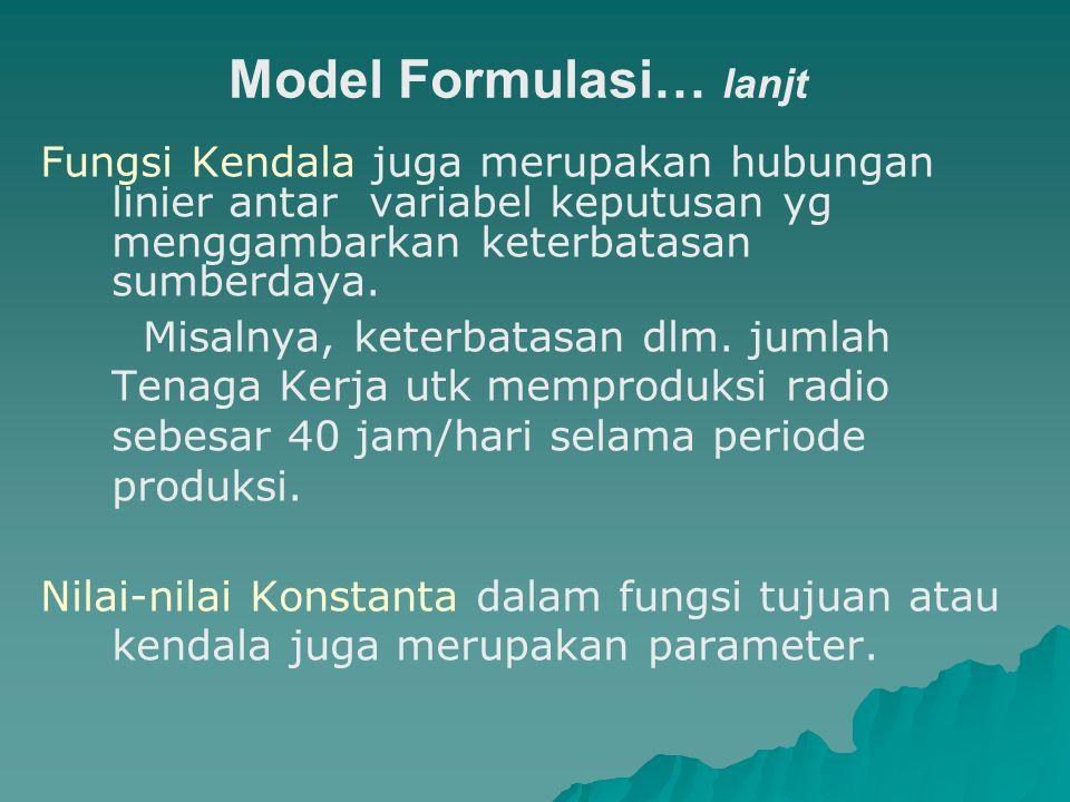 Model Formulasi… lanjt Fungsi Kendala juga merupakan hubungan linier antar variabel keputusan yg menggambarkan keterbatasan sumberdaya. Misalnya, kete