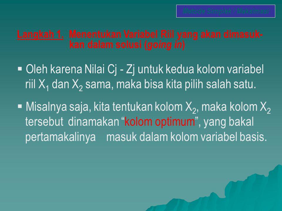 Langkah 1. Menentukan Variabel Riil yang akan dimasuk- kan dalam solusi ( going in )  Oleh karena Nilai Cj - Zj untuk kedua kolom variabel riil X 1 d