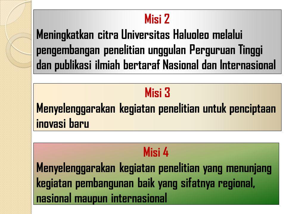 Misi 2 Meningkatkan citra Universitas Haluoleo melalui pengembangan penelitian unggulan Perguruan Tinggi dan publikasi ilmiah bertaraf Nasional dan In