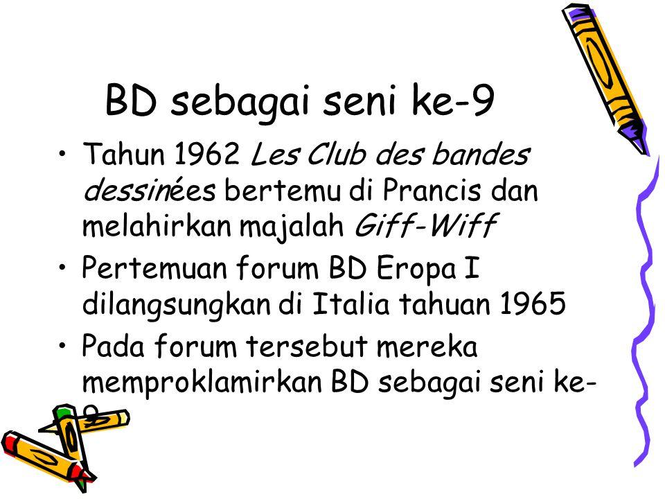 BD sebagai seni ke-9 Tahun 1962 Les Club des bandes dessinées bertemu di Prancis dan melahirkan majalah Giff-Wiff Pertemuan forum BD Eropa I dilangsungkan di Italia tahuan 1965 Pada forum tersebut mereka memproklamirkan BD sebagai seni ke- 9