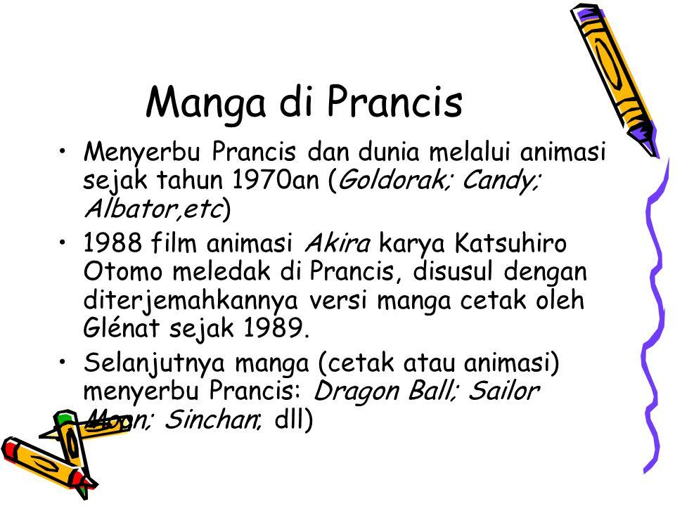 Manga di Prancis Menyerbu Prancis dan dunia melalui animasi sejak tahun 1970an (Goldorak; Candy; Albator,etc) 1988 film animasi Akira karya Katsuhiro Otomo meledak di Prancis, disusul dengan diterjemahkannya versi manga cetak oleh Glénat sejak 1989.