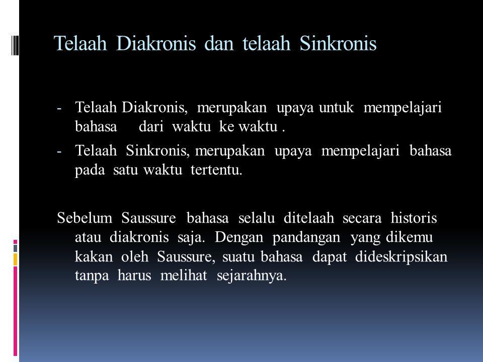 Dikotomi pandangan Saussure Telaah Diakronis dan Sinkronis Langue dan parole Signifiant dan signifié Hubungan Sintagmatik dan hubungan Paradigmatik
