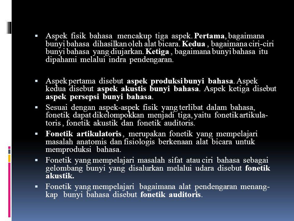 FONETIK DAN FONOLOGI  Bahasa lisan yang menjadi objek kajian utama linguistik merupakan rangkaian bunyi yang diujarkan oleh penutur. Mitra tutur mamp