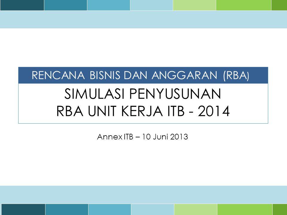 SIMULASI PENYUSUNAN RBA UNIT KERJA ITB - 2014 Annex ITB – 10 Juni 2013 RENCANA BISNIS DAN ANGGARAN (RBA )
