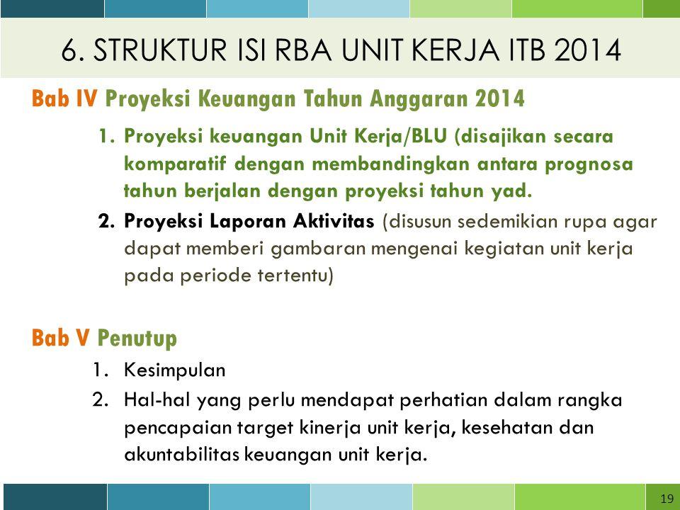 6. STRUKTUR ISI RBA UNIT KERJA ITB 2014 19 Bab IV Proyeksi Keuangan Tahun Anggaran 2014 1.Proyeksi keuangan Unit Kerja/BLU (disajikan secara komparati