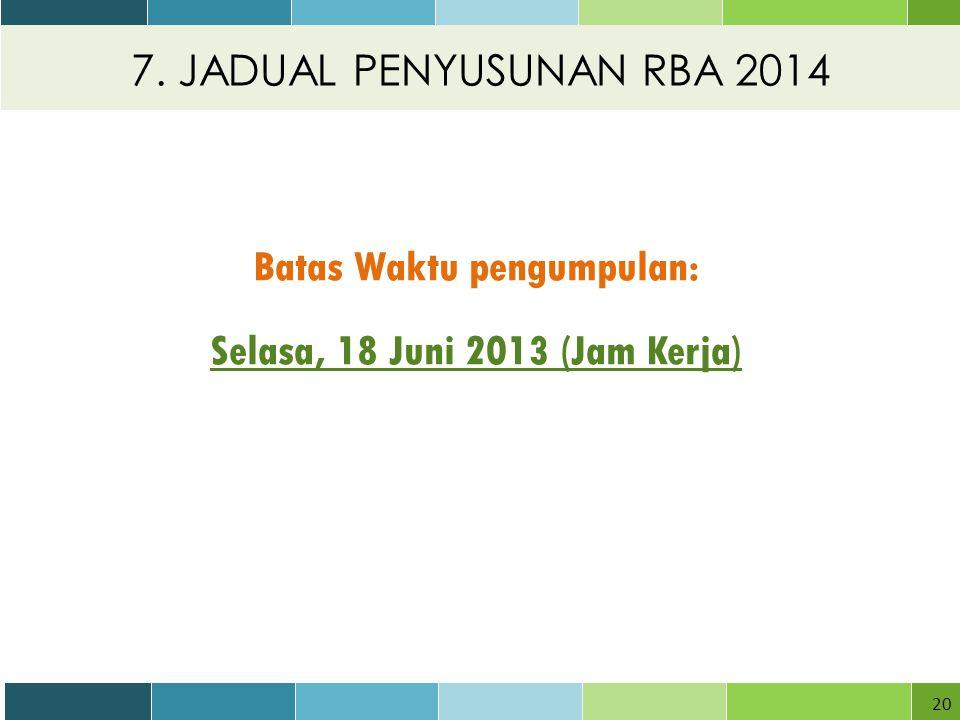 7. JADUAL PENYUSUNAN RBA 2014 20 Batas Waktu pengumpulan: Selasa, 18 Juni 2013 (Jam Kerja)