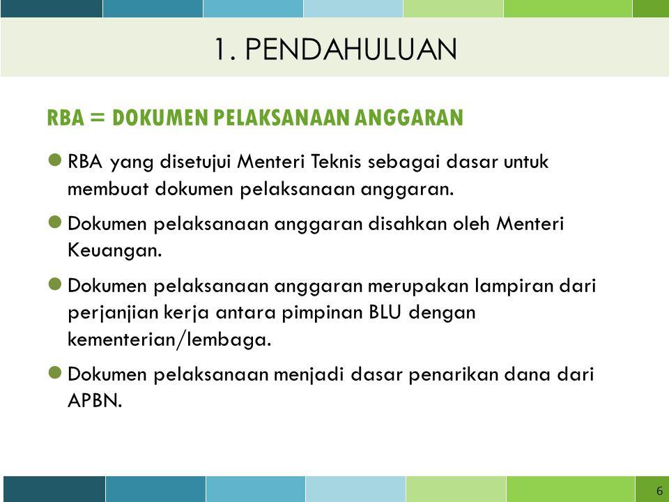 6 RBA = DOKUMEN PELAKSANAAN ANGGARAN RBA yang disetujui Menteri Teknis sebagai dasar untuk membuat dokumen pelaksanaan anggaran.