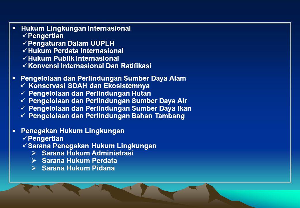 ukum Lingkungan Internasional Pengertian Pengaturan Dalam UUPLH Hukum Perdata Internasional Hukum Publik Internasional Konvensi Internasional Dan Rati
