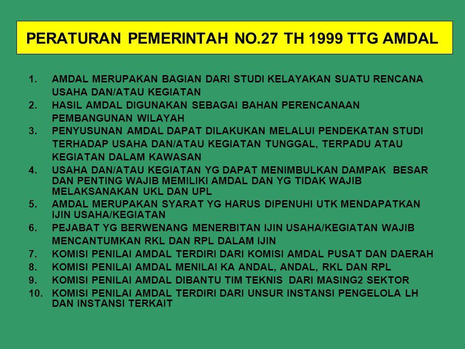 PERATURAN PEMERINTAH NO.19 TH 1999 TTG PENGENDALIAN PENCEMARAN DAN/ATAU PERUSAKAN LAUT 1. PERLINDUNGAN MUTU LAUT DIDASARKAN PADA BAKU MUTU AIR LAUT,KR
