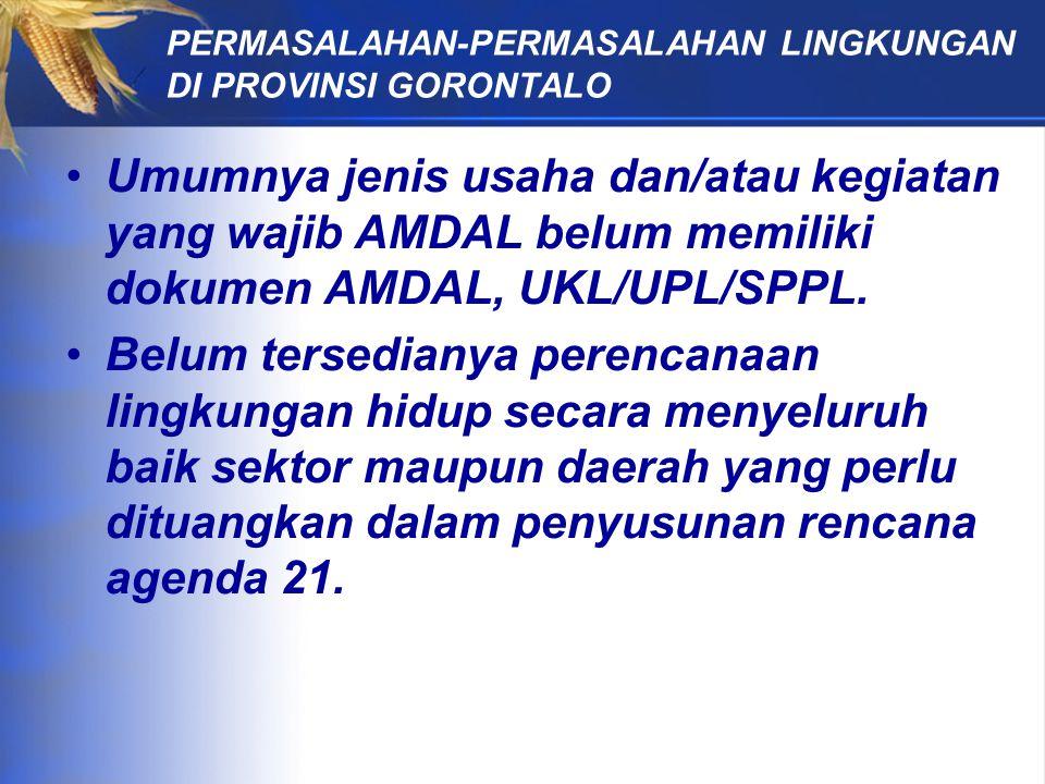 Umumnya jenis usaha dan/atau kegiatan yang wajib AMDAL belum memiliki dokumen AMDAL, UKL/UPL/SPPL.