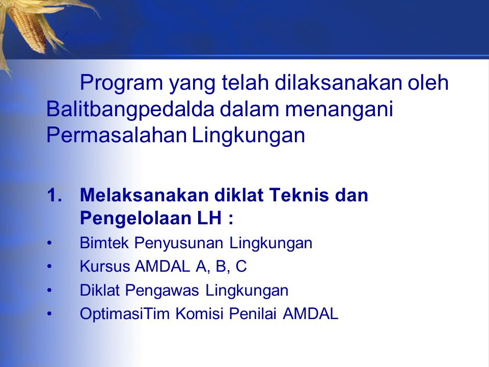 Program yang telah dilaksanakan oleh Balitbangpedalda dalam menangani Permasalahan Lingkungan 1.Melaksanakan diklat Teknis dan Pengelolaan LH : Bimtek Penyusunan Lingkungan Kursus AMDAL A, B, C Diklat Pengawas Lingkungan OptimasiTim Komisi Penilai AMDAL