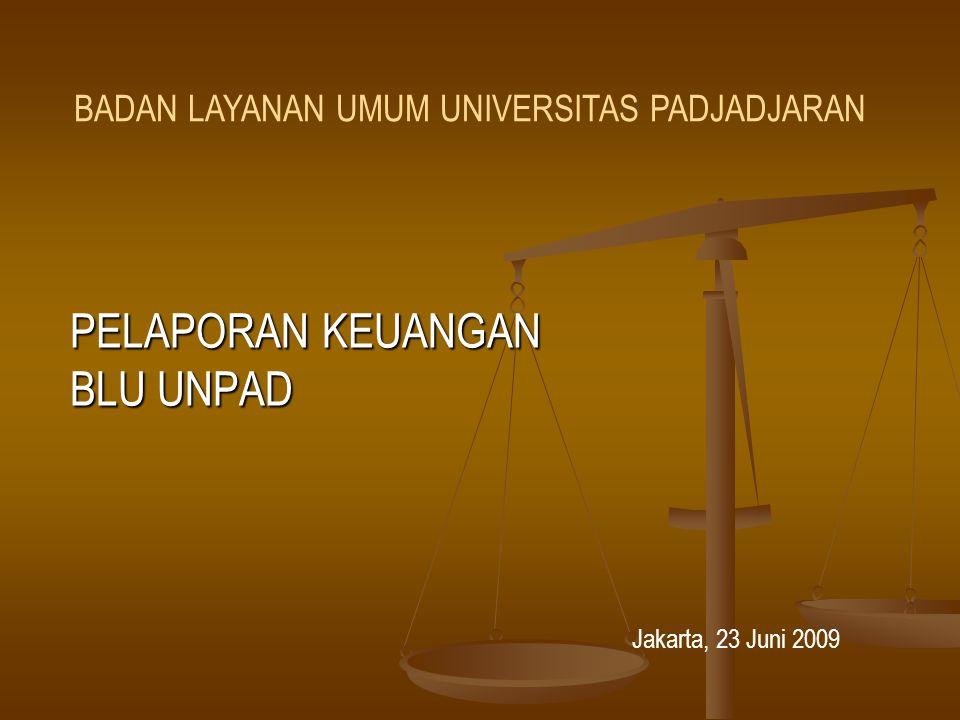 PELAPORAN KEUANGAN BLU UNPAD Jakarta, 23 Juni 2009 BADAN LAYANAN UMUM UNIVERSITAS PADJADJARAN