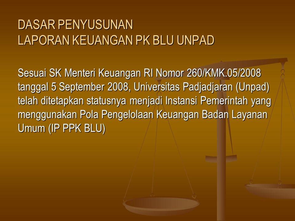 DASAR PENYUSUNAN LAPORAN KEUANGAN PK BLU UNPAD Sesuai SK Menteri Keuangan RI Nomor 260/KMK.05/2008 tanggal 5 September 2008, Universitas Padjadjaran (