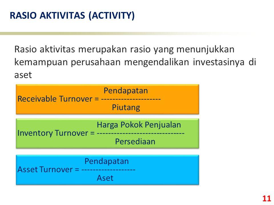 11 RASIO AKTIVITAS (ACTIVITY) Rasio aktivitas merupakan rasio yang menunjukkan kemampuan perusahaan mengendalikan investasinya di aset Harga Pokok Penjualan Inventory Turnover = ------------------------------- Persediaan Harga Pokok Penjualan Inventory Turnover = ------------------------------- Persediaan Pendapatan Receivable Turnover = --------------------- Piutang Pendapatan Receivable Turnover = --------------------- Piutang Pendapatan Asset Turnover = ------------------- Aset Pendapatan Asset Turnover = ------------------- Aset