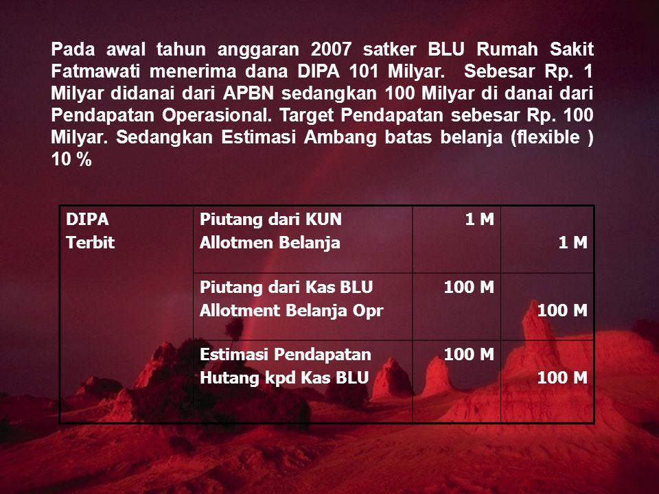 Pada awal tahun anggaran 2007 satker BLU Rumah Sakit Fatmawati menerima dana DIPA 101 Milyar. Sebesar Rp. 1 Milyar didanai dari APBN sedangkan 100 Mil