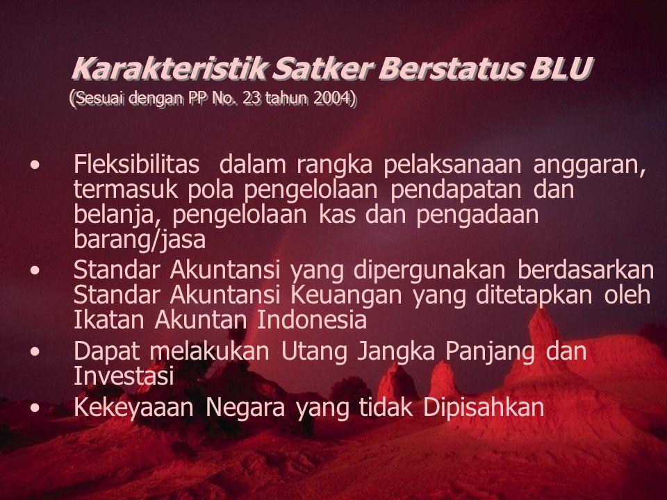 Karakteristik Satker Berstatus BLU ( Sesuai dengan PP No. 23 tahun 2004) Fleksibilitas dalam rangka pelaksanaan anggaran, termasuk pola pengelolaan pe