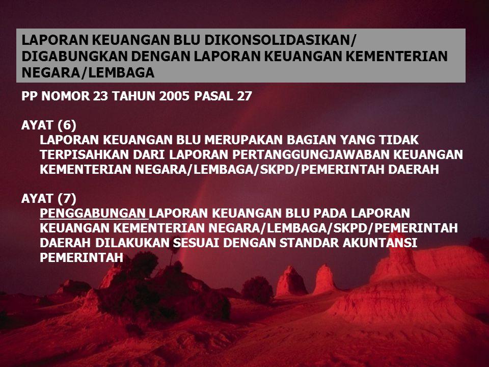 PP NOMOR 23 TAHUN 2005 PASAL 27 AYAT (6) LAPORAN KEUANGAN BLU MERUPAKAN BAGIAN YANG TIDAK TERPISAHKAN DARI LAPORAN PERTANGGUNGJAWABAN KEUANGAN KEMENTE