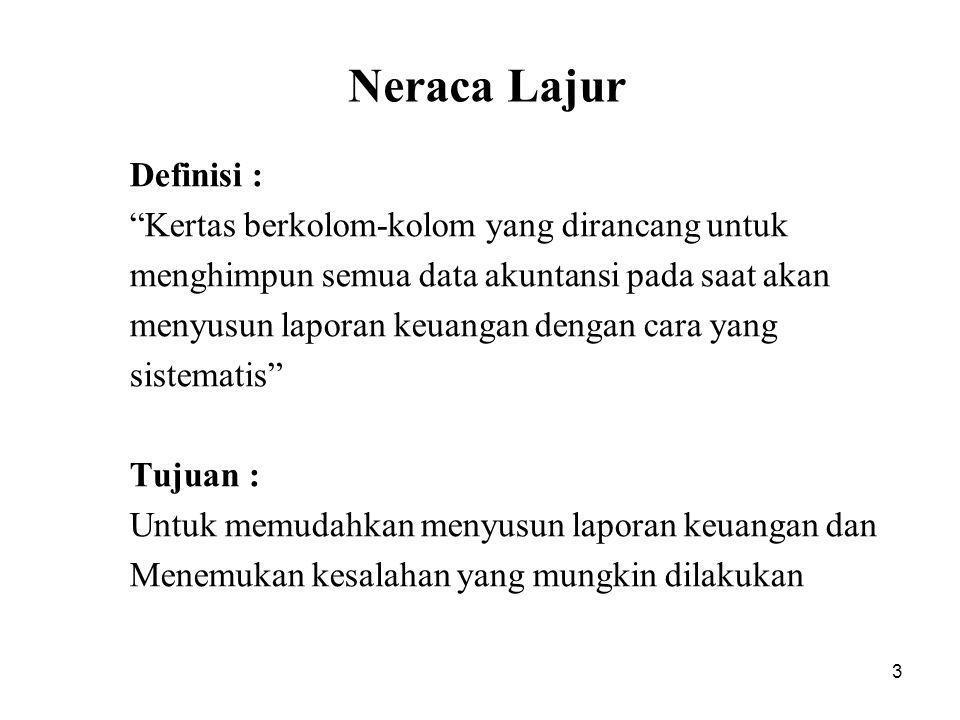 """3 Neraca Lajur Definisi : """"Kertas berkolom-kolom yang dirancang untuk menghimpun semua data akuntansi pada saat akan menyusun laporan keuangan dengan"""