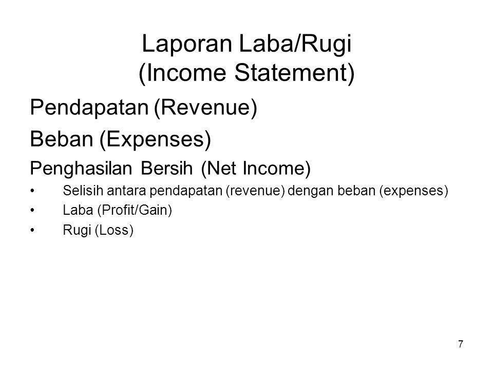 7 Laporan Laba/Rugi (Income Statement) Pendapatan (Revenue) Beban (Expenses) Penghasilan Bersih (Net Income) Selisih antara pendapatan (revenue) denga