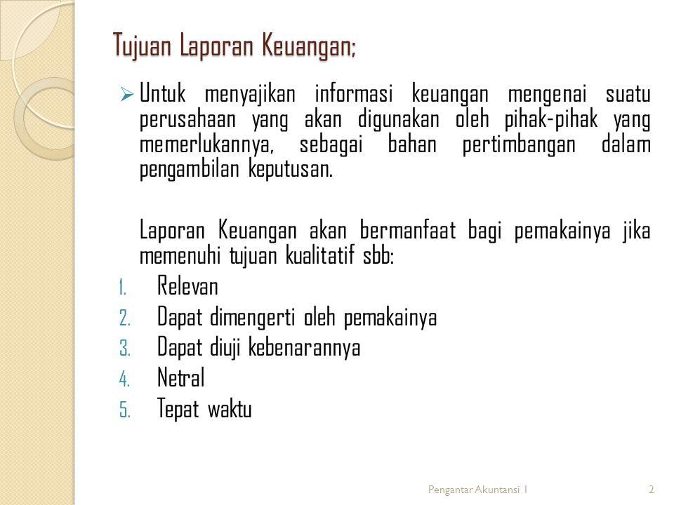 Tujuan Laporan Keuangan;  Untuk menyajikan informasi keuangan mengenai suatu perusahaan yang akan digunakan oleh pihak-pihak yang memerlukannya, seba