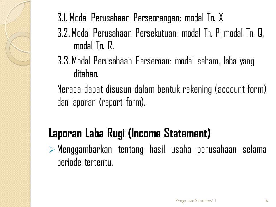 Komponen laporan Laba Rugi:  Pendapatan Peningkatan jumlah aktiva atau penurunan kewajiban perusahaan, yang timbul dari penyerahan barang/jasa atau kegiatan usaha yang lain.