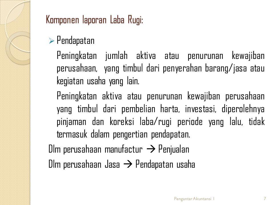 Komponen laporan Laba Rugi:  Pendapatan Peningkatan jumlah aktiva atau penurunan kewajiban perusahaan, yang timbul dari penyerahan barang/jasa atau k